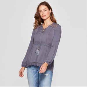 Long Sleeve Crochet Hem Lace-Up Neck Blouse - L